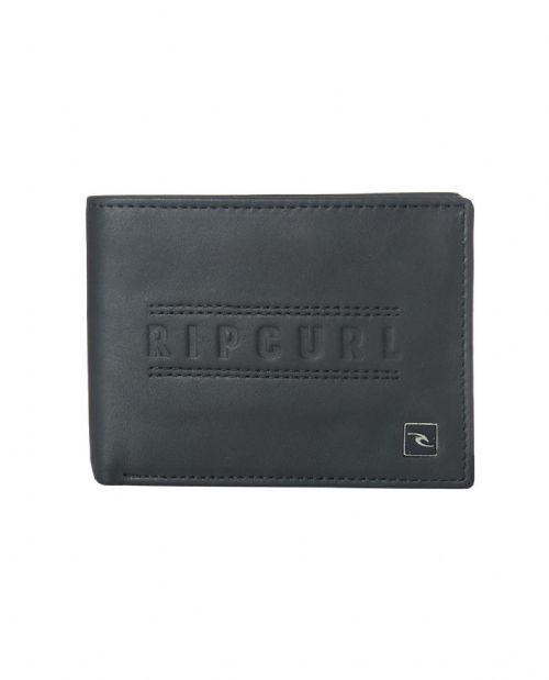 RIP CURL MENS WALLET.RFID PROTECH CLASSIC REAL LEATHER BLACK MONEY PURSE 8W H190